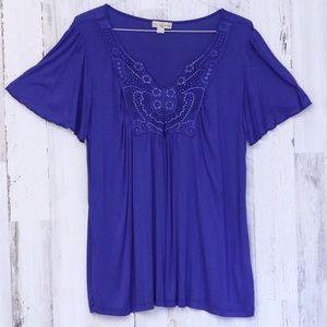 Embellished Top with Flutter Cap Sleeve Blue XL